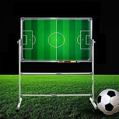 Tablero táctico grande para entrenadores de fútbol, equipo de entrenamiento de tácticas de fútbol profesional de 100 x 70 cm con soporte de 110 cm, uso de doble cara, dos modos verticales horizontal