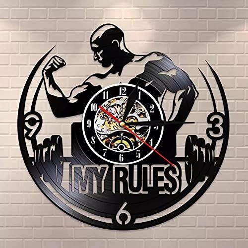 WTTA My Rules Citas Inspiradoras Arte de la Pared Reloj de Pared de Gimnasio Hombres musculosos Pesaje Reloj de Pared con Registro de Vinilo Reloj de decoración de Gimnasio