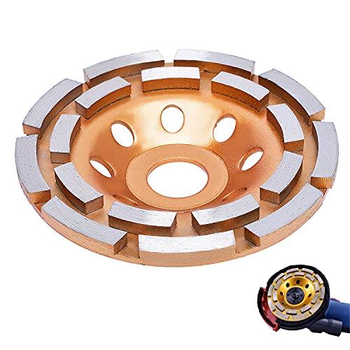 Muela de Copa Disco de Diamante Muela Disco Diamante 115 mm x 22,2mm con doble Filas para Piedra,Hormigón, Granito,Piedra Natural, Ladrillo por Poweka (115mm)