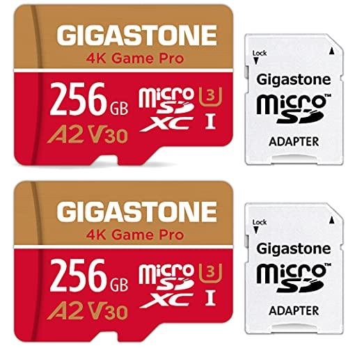 [5 Años Gratuitos de Recuperación de Datos] Gigastone Tarjeta Micro SD 256GB, Pack de 2, 4K Game Pro para Nintendo-Switch, GoPro, Cámara de Acción, dji, UHD Video, 100/60MB/s, UHS-I U3 A2 V30 C10