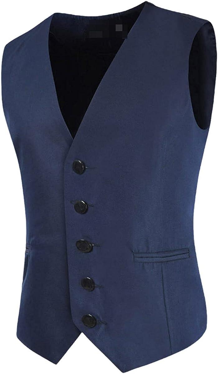 Men's Suit Vest Slim Fit Casual Business Vest Gentleman Groomsman Wedding Vest
