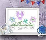 Blumen Print für Baby Fußabdruck und Familie Fingerabdruck, personalisierbar, Geschenk zur Geburt