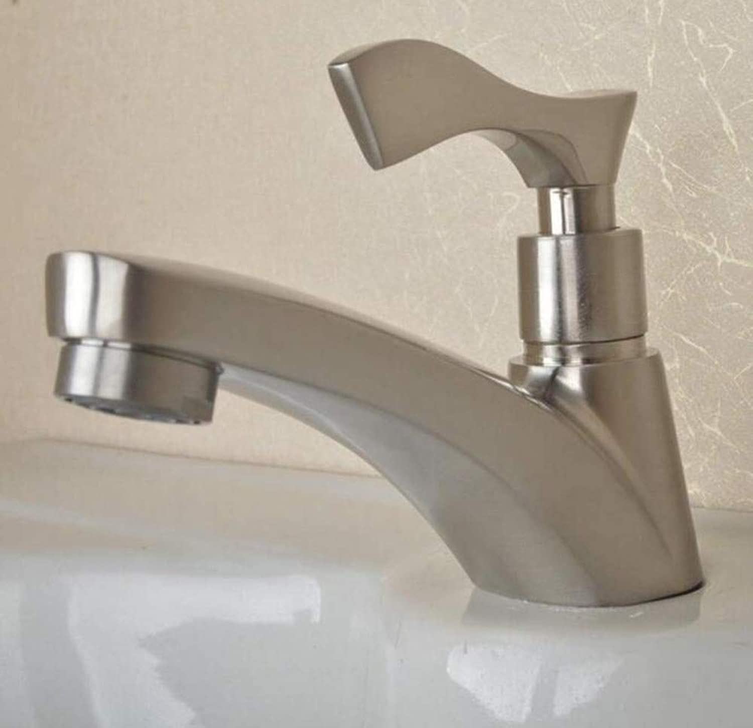 Brass Wall Faucet Chrome Brass Faucet Nickel Single Cold Basin Faucet Bathroom Wash Basin Tap