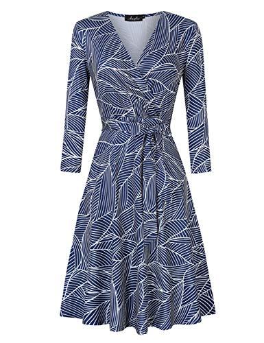 AMZ PLUS Womens V-Neck 3/4 Sleeve A Line Midi Faux Wrap Plus Size Cocktail Party Swing Dress Printed B XL
