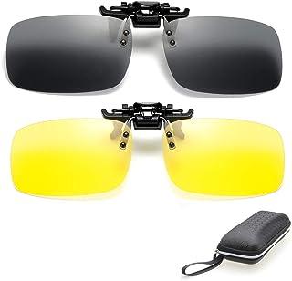 2 paia di occhiali da sole polarizzati Clip su occhiali ribaltabili per la visione notturna Antiriflesso Uomo Donna miopia...