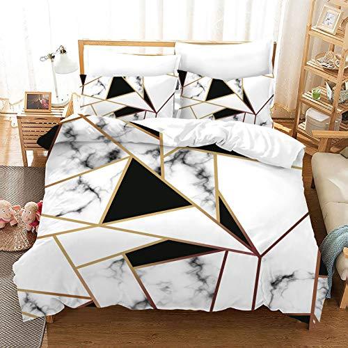 QXbecky Pink White Black Gold red 3D Marble PatternBedding Soft Microfiber Quilt Cover Pillowcase 3-Piece Set Hidden Zipper