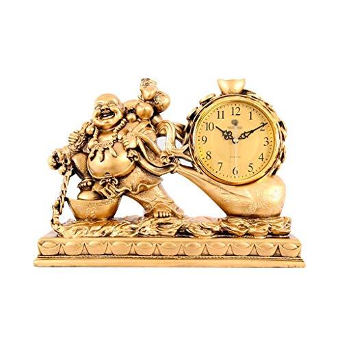 HYY-YY Bureau klok Familie klokken Retro Lucky Klok, Resin Niet-tikkende Mute Woonkamer Studie Ornamenten Geschikt voor woonkamer slaapkamer Office (Maat, 34x22x36cm),43x16x30cm