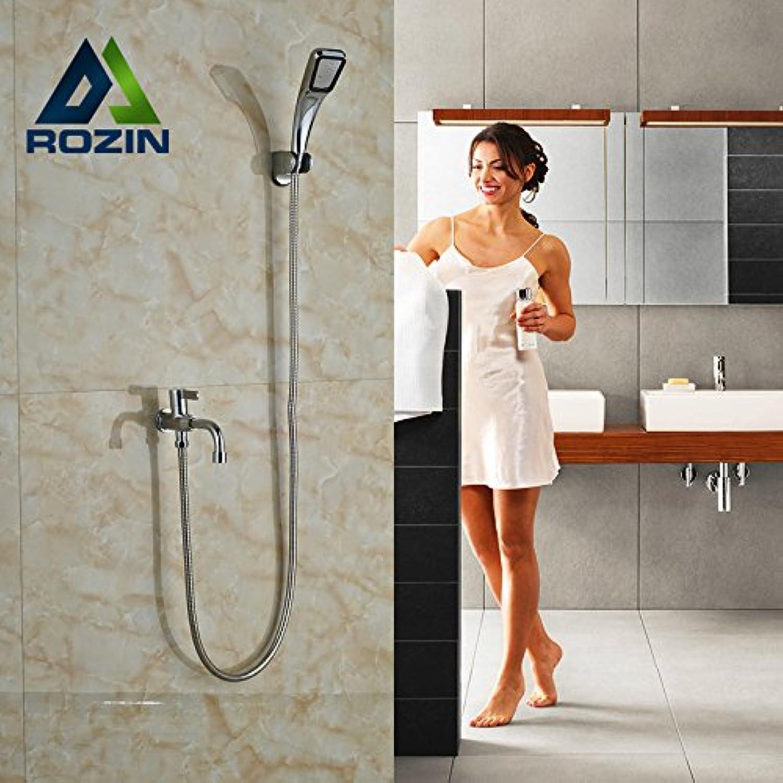Luxurious shower Chrom poliert einzigen Griff Handdusche Wasserhahn an der Wand montierte kaltes Wasser Ausgieer mit Handbrause, Klopfen,
