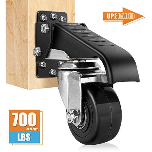 DOZAWA Workbench Stepdown Caster, 600 Lbs Set of 4 Durable Heavy Duty Steel, All Steel Construction Urethane Wheels [New Version]