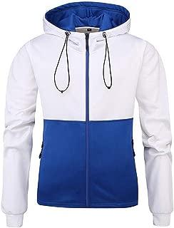Forthery-Men Sport Long Sleeve Color Blocked Half Zip Hoodie
