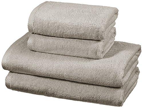 Amazon Basics - Set di asciugamani ad asciugatura rapida, 2 pezzi, 2 teli bagno + 2 asciugamani - Platino