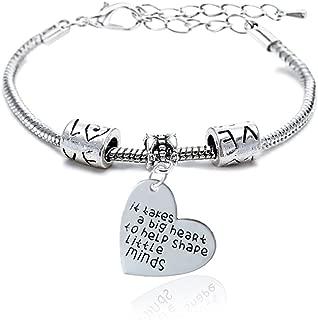 Teacher Gift It takes a big heart to help shape little minds Bangle Bracelet for Women Men Christmas