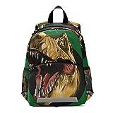 RELEESSS Mochila divertida con diseño de dinosaurio con correa en el pecho, mochila escolar para niños y niñas
