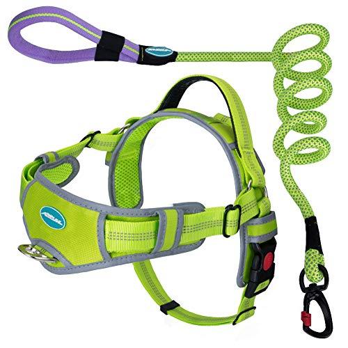 ThinkPet No Pull Atmungsaktives Gurtset - Reflektierende gepolsterte Hundeweste mit Griff, Reflektierende Neon-Hundeleine XXL Grün