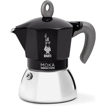 Bialetti New Moka Induction, Cafetière à Induction, Aluminium/Acier, 6 Tasses, Noir