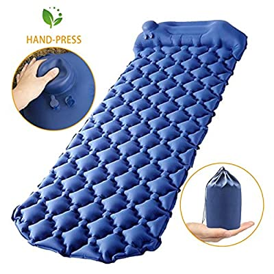 GDPETS Camping Air Mattress, New Upgrade Hand Press Inflatable Camping Sleeping pad with Pillow for Backpacking,Traveling,Waterproof Anti-Skid & Anti-Leak Compact Camping Air Mat