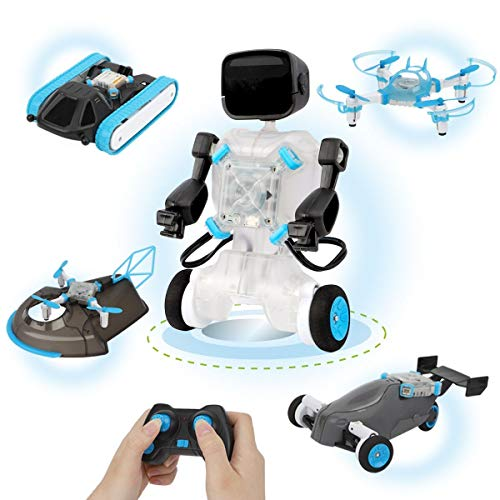 GILOBABY 5 in 1 Robots Toys for Kids 8 -12 STEM 2.4Ghz Remote Control Drone Tank & Hovercraft DIY Science Learning Toys Air and Land Building Set Education Physics Courses Set for Kids Boys and Girls