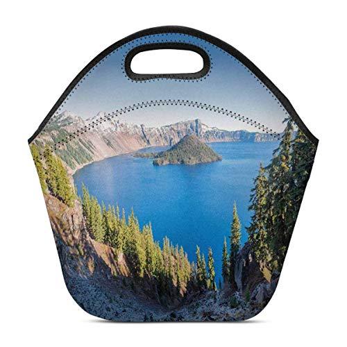 Funny Z Isolier Neopren Lunchpaket Sonnenaufgang an wiederverwendbarer Tote Brotdose Crater Lake National Park Oregons USA