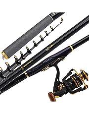 Combinaciones de caña de Pescar y Carrete telescópicas Kit Completo, Caña Pescar Hilado de Carbono portátil Anillo guía Suave y Antideslizante Asiento de Rueda Metal Asiento Antideslizante cómodo