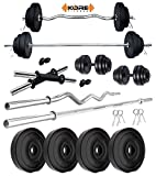 Kore PVC 10 KG Combo 2 WB-Wa Home Gym Set with One 5 ft Plain Rod & One 3 ft Curl Rod and One Pair...