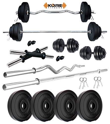 Kore PVC 10 KG Combo 2 WB-Wa Home Gym Set with One 5 ft Plain Rod & One 3 ft Curl Rod and One Pair Dumbbell Rods