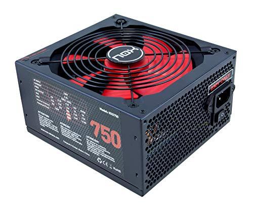 Nox NX 750W - NXS750 - Fuente de Alimentación 750W, compatible con SLI&Crossfire, ventilador 140mm, utra silenciosa, Multi GPU compatible, PFC activo, color negro