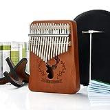 REAWOW Piano de pulgar Kalimba 17 teclas Mbira Piano de dedo portátil Madera maciza Instrumentos de mano africanos con soporte Instrucción de estudio Bolsa de transporte Regalos para niños Adultos
