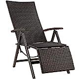 tectake 800720 poltrona relax con poggiapiedi, sedia da giardino, braccioli e schienale regolabile, 76 x 57,5 x 113 cm - disponibile in diversi colori (nero | no. 403218)