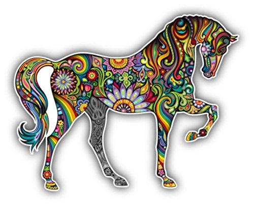 Akachafactory Sticker für Auto/Motorrad /, Motiv: buntes Pferd