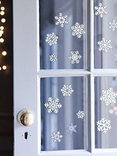 SHATCHI SHATCHI-727 80 Kerstmis Sneeuwvlok Kerstmis raamdecoratie Glitter Stickers, Wit/Blauw