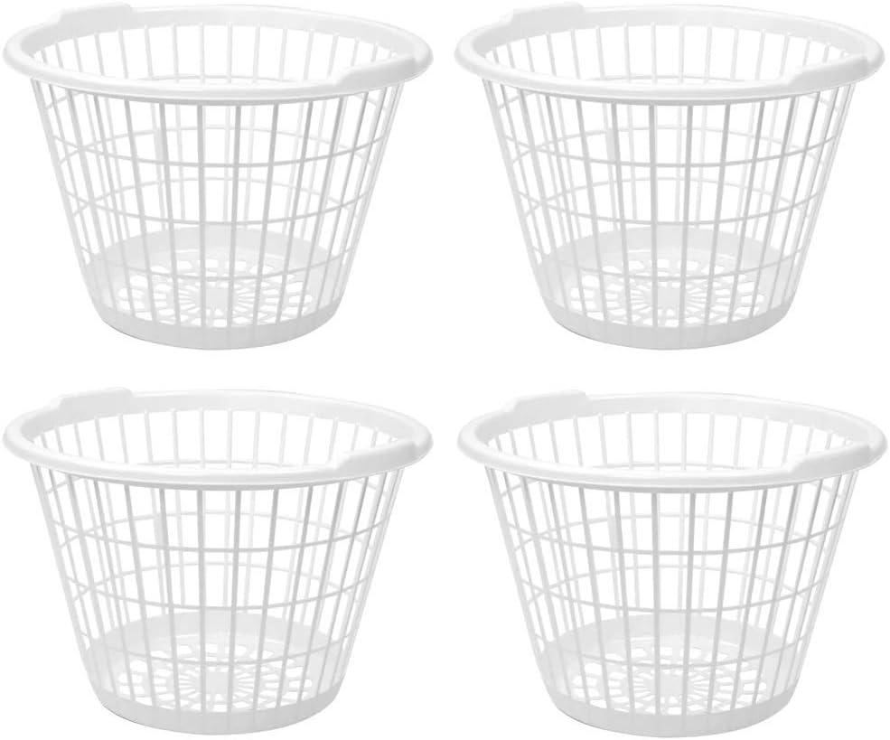 Set List price of Same day shipping 4 White Lightweight Plastic Bushel B Laundry One Capacity