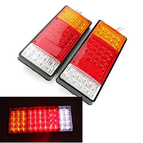 HEHEMM Rücklicht Anhänger, Heckleuchte 12V 44 LEDs Rückleuchten für KFZ Anhänger LKW Hinteres Rücklicht Wasserdichtes Auto Warnlicht Endstück Lichter für LKW Boots Anhänger Karawane (Satz von 2)