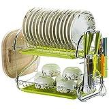Useful Placa de Acero Inoxidable Estrato de Plato de Acero Inoxidable Secado Rack Tazón Plato Drenaje Estante Drenaje Secador Secador Bandeja Cocina Organizador Convenient (Color : G2A)
