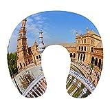 KASABULL Almohada Viaje,Famosa Plaza De España Sevilla España. Antiguo hito,Espuma de Memoria cojín de Cuello,Almohadas de Acampada,Soporte de Cuello para Viaje Coche