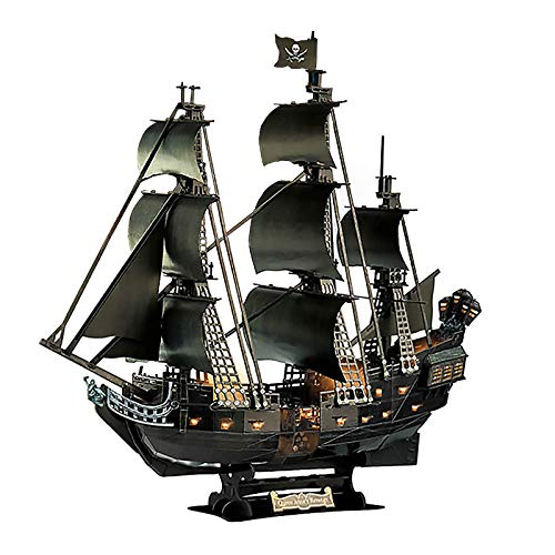 3Dパズル ブラックパール号 7歳以上対象 ジグソーパズル海賊船ブラッ主導帆船ビルディングブロックブラックパールギフトモデル海賊船キットとしての組み立てが難しいパズル