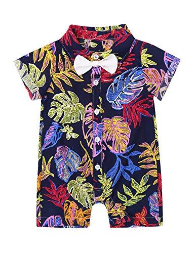 Oyolan Baby Jungen Strampler Kurzarm Hawaii Hemd Einteiler Jumpsuit Button Down Freizeithemd Sommer Strand Urlaub Outfit für -24 Monate Bunt A 62-68