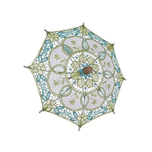 AJH Mini Vintage Holzstickerei Reine Baumwolle Spitze Regenschirm Hochzeit Kleiner Regenschirm für Hochzeitsgeschenk, B.