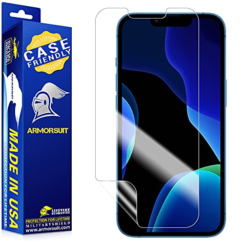 """[2 Pack] ArmorSuit MilitaryShield Screen Protector Designed for iPhone 13/13 Pro [6.1"""" Display] Case Friendly Anti-Bubble HD Clear Film"""