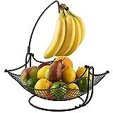 XINAYUEJP Cesto de Frutas y Vegetales de Metal Fruteros de Cocina Modernos, Frutero Negro Objeto Decorativo para el Mostrador de la Cocina para Frutas, Verduras, Bocadillos, Artículos para el Hogar