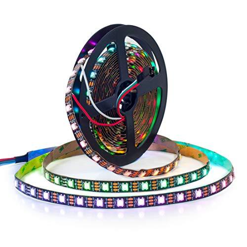 BTF-LIGHTING WS2812B Alambres de aleación ECO RGB 5050SMD Direccionable individual 16.4FT 60 píxeles/m 300 LEDs PCB negro flexible Full Color LED Píxel tira LED Sueño Color IP30 No impermeable DC5V
