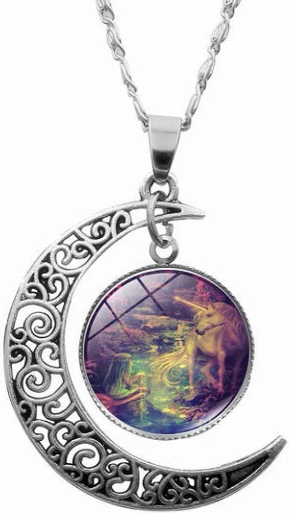 FLDC Unicorn Horse Moon Pendant Necklace Jewelry Gifts