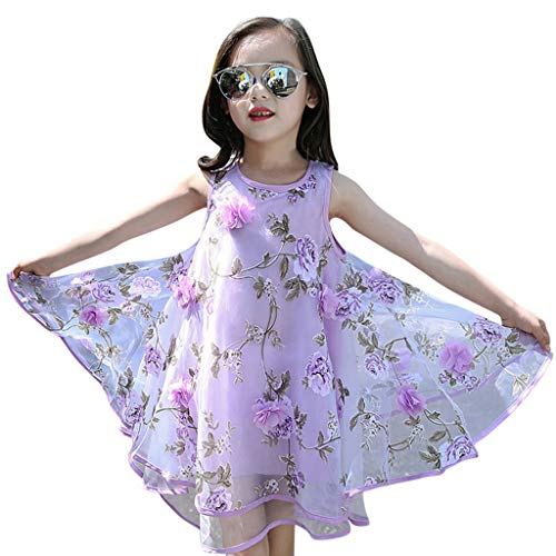 YWLINK Vestido NiñA,Verano Sin Mangas Vestido De La Flor del Chaleco del Fleco del Organza De Las Flores 3D,Vestido De La Princesa De La Boda Fiesta Regalo CumpleañOs(Púrpura,10-11 años/150)