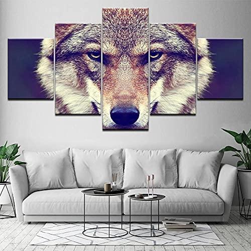 Composición De 5 Cuadros De Madera para Pared Cabeza De Lobo Impresión Artística Imagen Gráfica Decoracion De Pared Abstracto 150 * 80Cm con Marco
