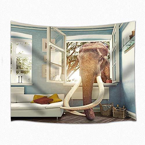 XURANFANG Wildes Decor Tapijt Olifant Restant Wandbehang voor slaapkamer woonkamer slaapzaal 71 x 60 inch 150 X 230 Cm