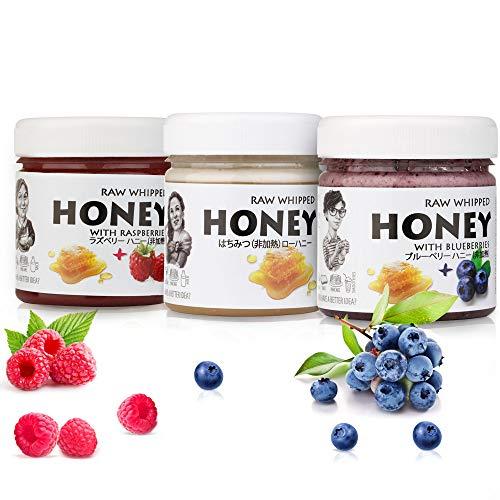 【Amazon.co.jp限定】 非加熱 無殺菌 ハニー セット品 純粋生はちみつ/ラズベリー生はちみつ/ブルーベリー生はちみつ ギフトセット ヌーヴォー ヌーボー Nouveau Raw Honey gift Set: Raw Honey 200g,Ra