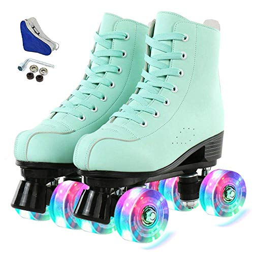 Hurber XUDREZ Women Roller Skates High-Top Double-Row PU Leather Roller Skates for Women (Flash...
