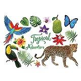 VOSAREA Mural Art Fond d'écran créatif Stickers muraux Sticker Mural Elephants tropicaux Jungle Adventure