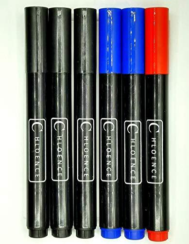 CHLOENCE Pennarelli indelebili punta tonda 6pz (3 neri, 2 blu, 1 rosso)