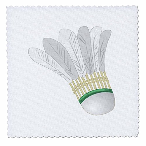 3dRose QS 41664_ 4Big weiß Badminton Federball Quilt quadratisch, 30,5x 30,5cm