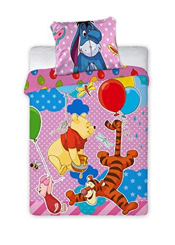 Kinderbettwäsche Disney III 2-teilig 100% Baumwolle 40x60 + 100x135 cm mit Reißverschluss (Winnie The Pooh)